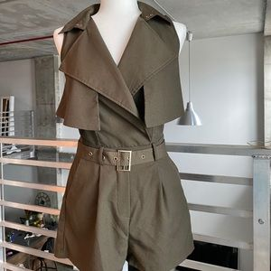 Olive Romper with gold accent belt